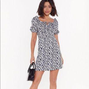 Nasty Gal Daisy Print Ruched Waist Mini Dress